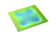 Optical profilometry image of buckled thin film